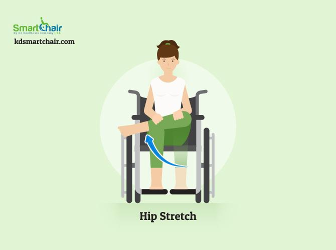wheelchair yoga hip stretch pose