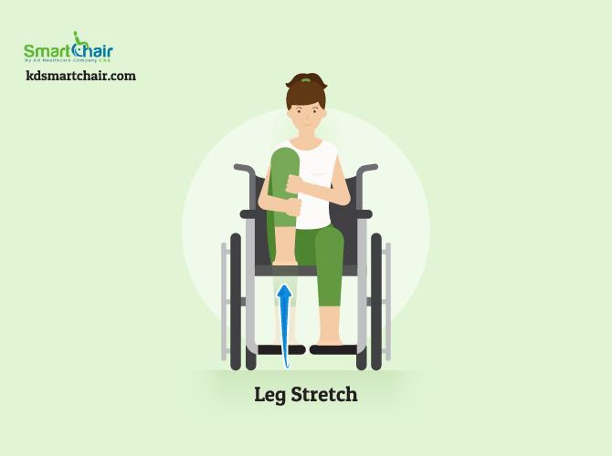 wheelchair yoga leg stretch pose