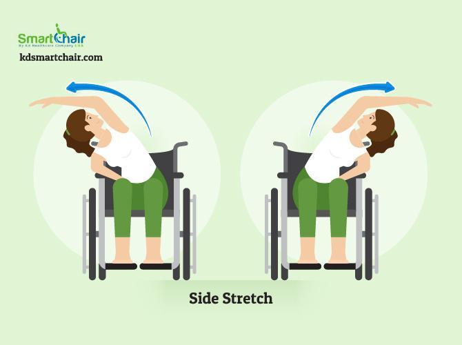 wheelchair yoga side stretch pose