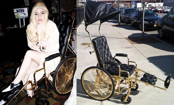 24 Karat Gold wheelchair Laday Gaga pimped out grande
